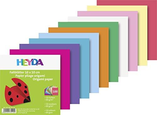 Heyda 204875510 Faltblatt (Papier, 10 x 10 cm, 10 Farben sortiert, 100 Blätter)