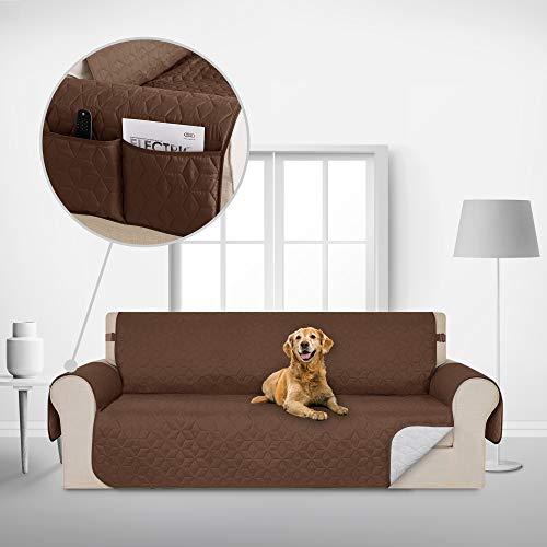 Deconovo Copridivano 4 Posti Trapuntato con Tasche Telo Copri Divano Antiscivolo Protegge Il Mobile per Cani/Gatti Letto Cioccolato