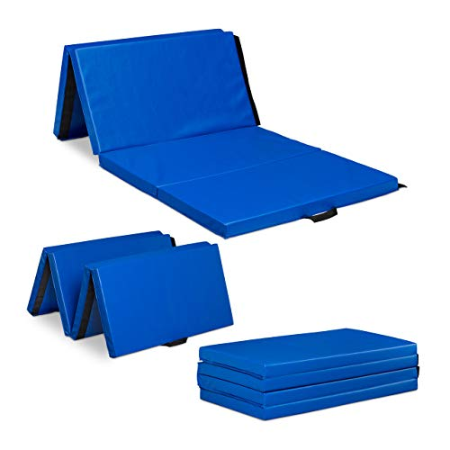 Relaxdays Materasso da Ginnastica 235x120 Pieghevole, Spesso 5cm, Componibile, Tappeto Morbido, Impermeabile, Blu