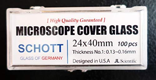 Microscope Cover Glass | 24x40mm | Cover Slips | Cover Slides German Borosilicate Glass | Thickness #1 .13-.16mm | JL Sceintific | Pack of 100 coverslips