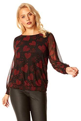 Roman Originals - Camiseta de manga larga con estampado de corazón para mujer con dobladillo de burbujas y mangas largas, para otoño e invierno
