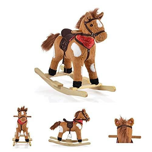 Moni Rocking Horse Plush Thunder WJ-001 Runners Saddle Horse Sounds Fino a 50 kg, Colori:Marrone