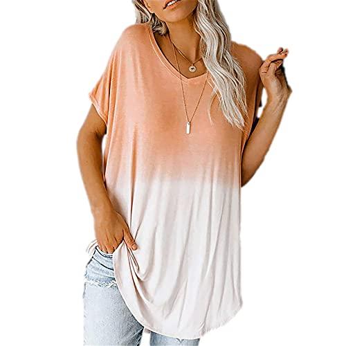 Camisa Mujer Manga Corta Cómoda con Cuello En V Degradado Color De La Parte Uso Mujer Top Diario Transpirable Temperamento A La Moda Elasticidad Sencillez Única Mujer Blusa A-Orange XL