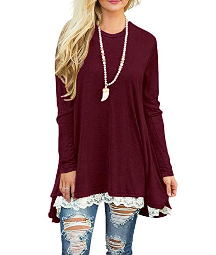WEKILI Women's Tops Long Sleeve Lace Scoop Neck A-line Tunic Blouse Wine Red M/US 8-10