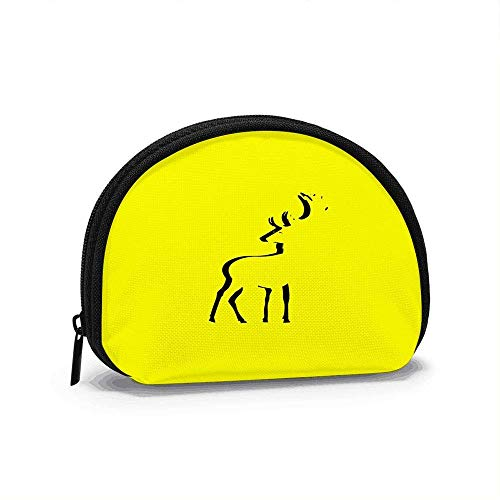 Deer Icon Isolated Sign Animal Women Girls Shell Cosmetic Make Up Storage Bag Outdoor Shopping Coins Wallet Organizer