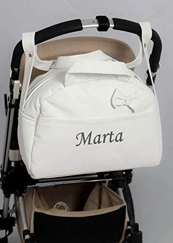 danielstore- Bolso Carro Bebe Personalizado Acolchado con Nombre Bordado. Color Blanco