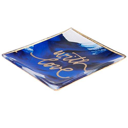 Gift Company - Glasteller, Glasschälchen - with Love - blau - 10x0,8x10 cm