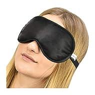 Jasmine Silk 100% Pure Silk Filled Eye Mask/Sleeping Mask Sleep Mask - Black