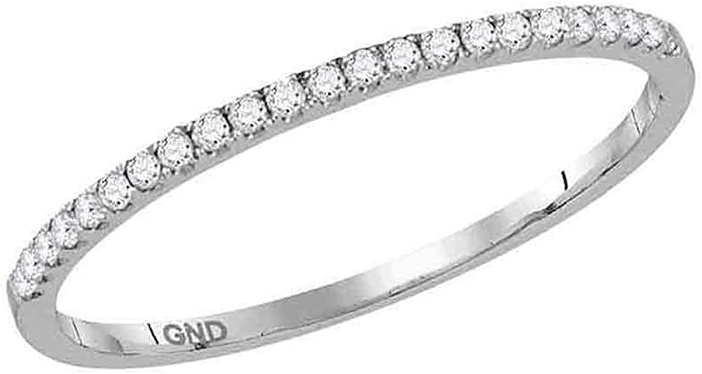 14kt White Gold Womens sold out Round Band Timeless service Stackable Diamond Rin