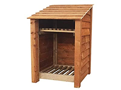 Arbor Garden Solutions Wooden Log Store With Kindling Shelf 4Ft (0.9 cubic meter capacity) (W-79cm, H-126cm, D-81cm)