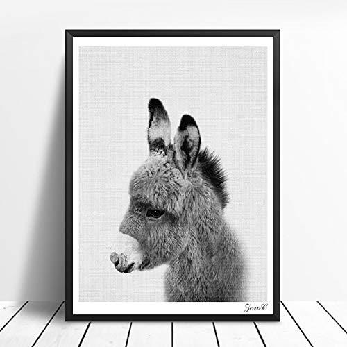 Nordic schwarz-weiß Poster und Druck Wandbild Leinwand Gemälde Tierbild Wohnzimmer skandinavischen Elefanten Dekoration rahmenlose Malerei 30x40 cm