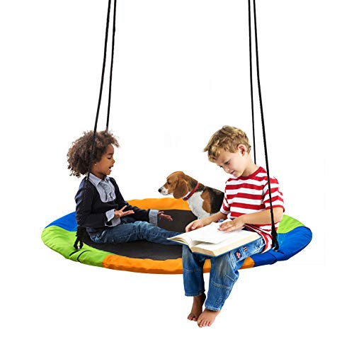 40 Inch Saucer Tree Swing Flying 700 lb Weight Capacity Adjustable MultiStrand Ropes 900D Oxford Colorful Safe and Durable Swing Seat for Children Adults