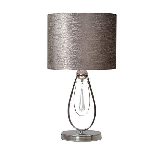 Tafellamp grijze bedlamp, creatieve kristallen hanger decoratie slaapkamer licht flanel doek lampenkap bedlampje woonkamer bureaulamp