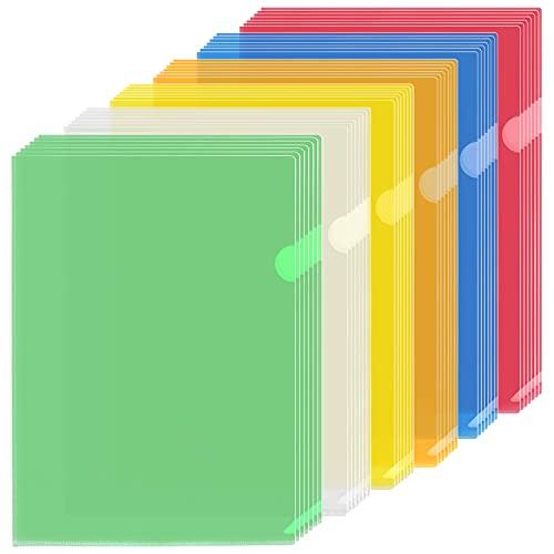 42Pcs Chemise Plastique A4, Pochette Plastique Pochette Porte Document A4 pour Classification Documents - 31X22cm - Couleurs Assorties
