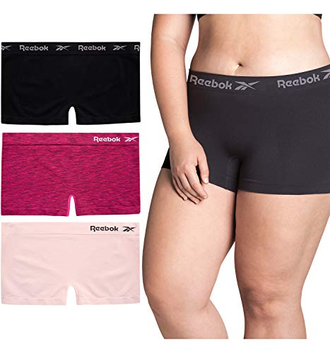 Reebok Women's Underwear – Plus Size Seamless Boyshort Panties (3 Pack) (Rustic Wine Jacquard/Lotus/Black, 2X)
