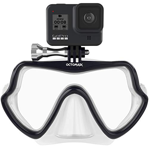 OCTOMASK - Frameless Dive Mask w/Mount for All GoPro Hero Cameras for Scuba Diving, Snorkeling, Freediving (Clear)
