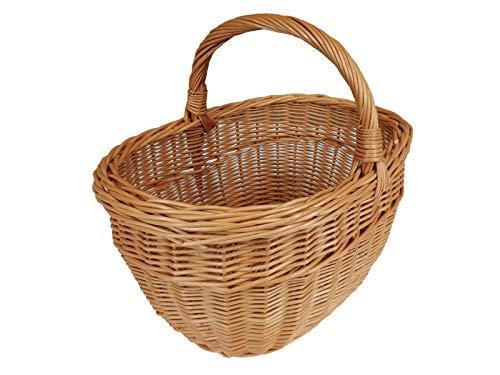 Cesta de mimbre para la compra, cesta para frutas o verduras, cesta de picnic, cesta de picnic, 37 x 28 / 20/31 cm