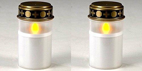 G&M 2er Set LED Grabkerze Batteriebetrieben LED Grablicht LED Grablampe