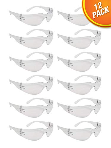 Clear Frame Safety Glasses, One Size, Anti-Scratch, Impact Resistance (12 Pack), ANSI Compliant