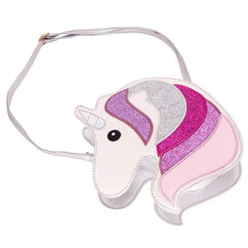 HDE 3D Glitter Unicorn Crossbody Purse Bag for Teens Girls Women Novelty Handbag (Silver Unicorn)