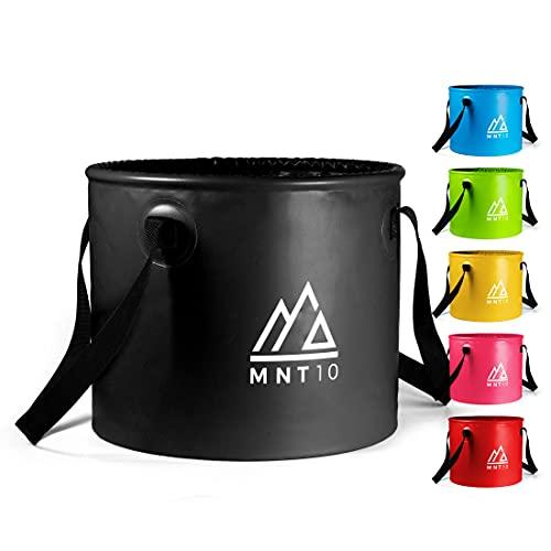 MNT10 Outdoor Falteimer in 15L oder 20L I Faltschüssel aus robustem Planen Gewebe I Als Camping Spülschüssel, Spülwanne oder als Faltbarer Eimer für Camping Geschirr, Besteck (Schwarz 15L)