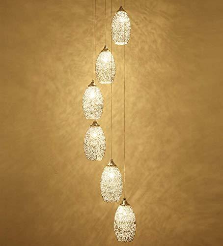 SAFGH Mzhch lámpara 6 Luces dúplex luz Colgante de Techo Alto Arte Creativo Dormitorio candelabro Moderno Minimalista Restaurante Loft Leap Sala de Estar Escalera de Caracol nórdica candelabro lar