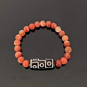 Retro Natürliche Tibetische Dzi-Achtes Armbänder Buddha Nine-Eyed Quarz Amazonite Tiger Eye Black Lava Stein Armbänder Frauen-8Mm Roter Achat.
