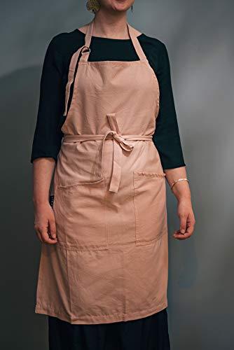 LINUM SARA Tablier traditionnel pour femme et homme, lavable en machine, 70 x 90 cm, Coton (Rose Poudre)