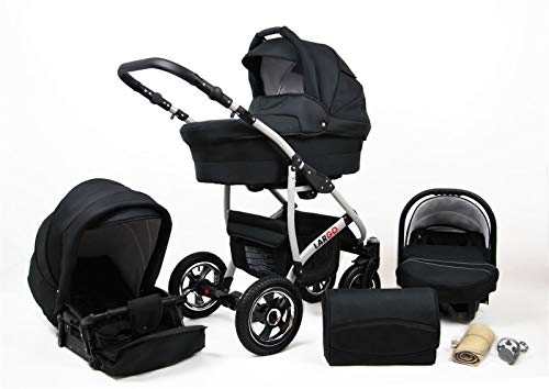 Kinderwagen 3in1 2in1 Set Isofix Buggy Babywanne Autositz New L-Go by SaintBaby Schwarz 3in1 mit Babyschale