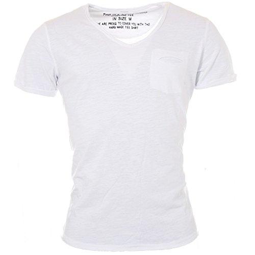 KEY LARGO Herren Vintage Used Destroyed Look Uni T-Shirt Soda New v-Neck tiefer V-Ausschnitt Slim fit tailliert einfarbig T00619, Grösse:M, Farbe:Weiß