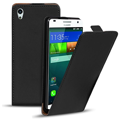 Conie BF8167 Basic Flip Kompatibel mit Huawei G620s, PU Leder Hülle Cover Klapphülle für G620s Tasche Schwarz