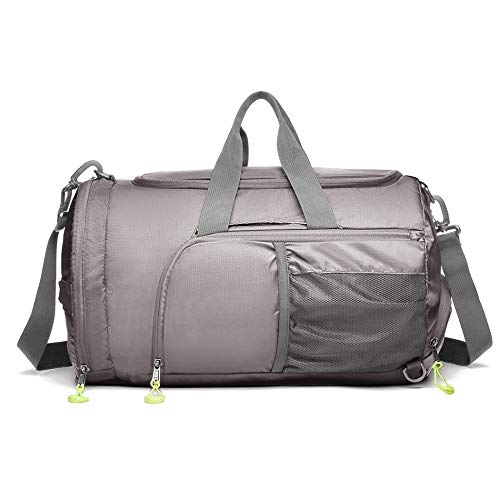 Kono Sports Duffel Bag Foldable Gym Overnight Bags Waterproof Lightweight Travel Versatile 3 Ways Carrying Backpack with Shoes Compartment Medium (Grey)