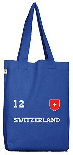 ShirtStreet Swiss Fußball WM Fanfest Gruppen Bio Baumwoll Jutebeutel Stoffbeutel Trikot Schweiz, Größe: onesize,Bright Blue
