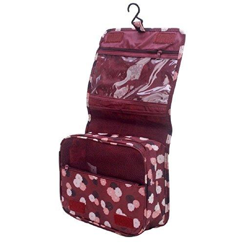 NOVAGO Grande borsa da toilette, Borsetta da Viaggio con Multi-compartimenti (Fiori Bordeaux)
