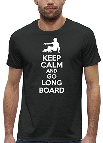 Longboarder Premium Herren T-Shirt Aus Bio Baumwolle Keep Calm and Go Longboard Stanley Stella, Größe: M,Anthrazite