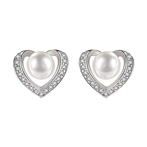 Pendientes con forma de corazón, pendientes de temperamento de moda, pendientes de plata S925, pendientes de oreja, regalo de joyería de Navidad para mujeres y niñas