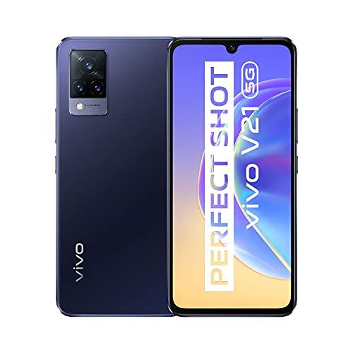 vivo V21 5G Smartphone, 8GB + 128GB, 44 MP-Super-Night-Selfie mit OIS, 64 MP-Dreifachkamera, 90 Hz hohe Bildwiederholfrequenz, Extrem Schmal, 6,44'', Dual-SIM … (Dusk Blue)