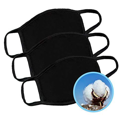 EZCASA reusable face mouth cotton black washable mask for man and women