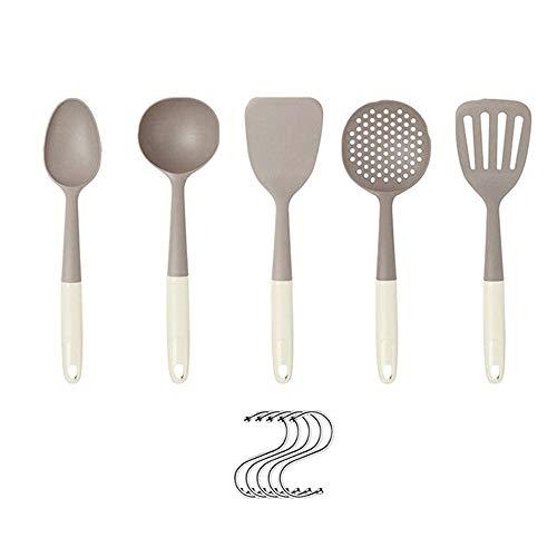 SODIAL Utensilios de Cocina de Silicona de 5 Piezas con EspáTula, Juego de Utensilios con Ganchos, para SartéN Antiadherente, ElectrodoméSticos de Cocina