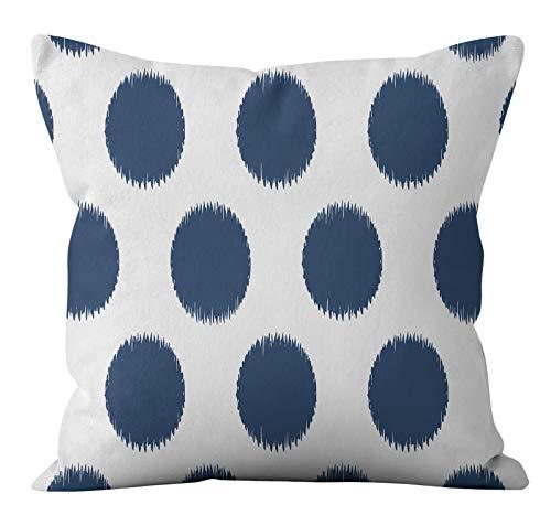 PPMP Funda de cojín de Flora Retro Azul Verde Lino geométrico sofá Funda de Almohada Dormitorio decoración del hogar Funda de cojín A5 45x45cm 1pc