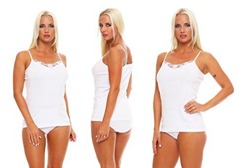 2 Stück Damen-Unterhemden weiß mit Spitze und Spaghettiträgern Gr. 40/42, 100% supergekämmte Baumwolle Größe Grösse Gr. 36-38 40-42 44-46 48-50 52-54 56-58…