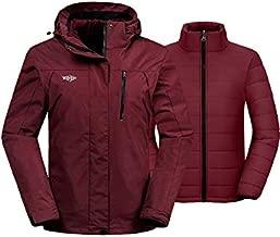Wantdo Women's Winter Snow Coat Mountain Skiing Jacket SoftShell Windbreaker Raincoat Wine Red XL