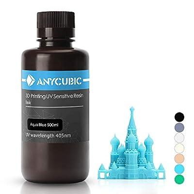 ANYCUBIC 3D Printer UV Resin 405nm Rapid Photopolymer for Photon/S Liquid 3D Resin Universal High Precision for LCD/DLP/SLA 3D Printers, 500ml Aqua Blue