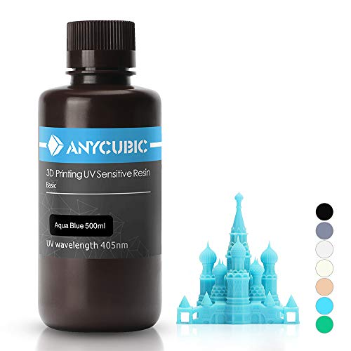 ANYCUBIC 3D Printer UV Resin 405nm Rapid Photopolymer for Photon/S Liquid 3D Resin Universal High Precision for LCD/DLP/SLA 3D Printers, 500ml Aqua Blue