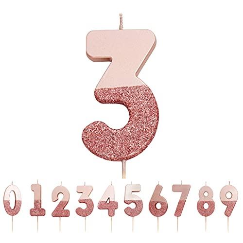 Talking Tables Vela Número 3 Con Brillo De Oro Rosa, Decoración para tartas de primera calidad, Bonito, Brillante para niños, Adultos, Fiesta de cumpleaños número 30, Aniversario, Hito