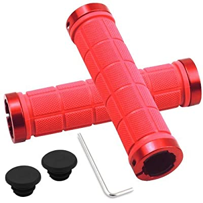 HQdeal 1 Pair Universal Bike Handlebar Grips 22mm, Double Lock, Bicycle Handlebar Grips with Aluminium Lock, Non-Slip Adjustable Rubber Bicycle Handle bar for Cycle Mountain BMX MTB Floding (Red)