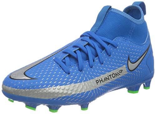 Nike JR Phantom GT Academy DF FG/MG, Scarpe da Calcio, Photo Blue/Mtlc Silver-Rage Green-Black, 33.5 EU