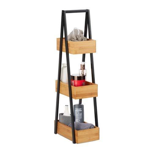 Relaxdays Badregal Bambus, platzsparendes Leiterregal mit 3 Ablagen, Bad, Küche, Wohnzimmer, Metall, 81x18x30 cm, natur