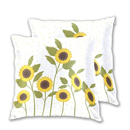 Emoya Juego de 2 fundas de almohada decorativas de girasol, 40 x 40 cm