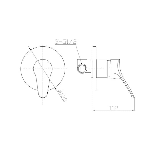 Ambrosiana sei14030000grifo mezclador ducha serie completa de cuerpo integrado, Cromo, 12 x 11,2 x 12 cm